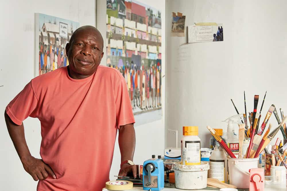 Sam Nhlengethwa Portrait in studio. Courtesy of the artist & Goodman Gallery.