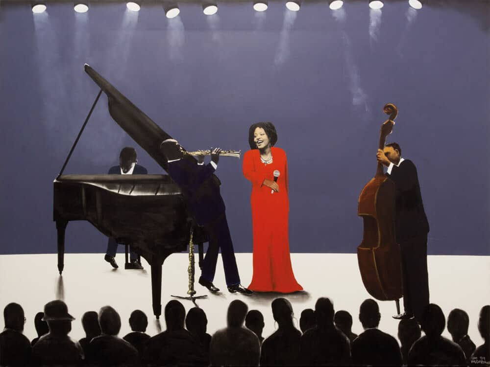 Sam Nhlengethwa, Diva on Stage, 2009. Oil paint and Collage on canvas, 185 x 240cm.