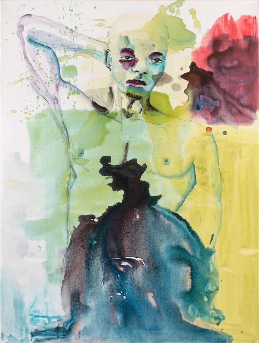 Banele Khoza, Tratando de impresionar, 2017. Acrílico sobre lienzo, 122 x 92 cm.