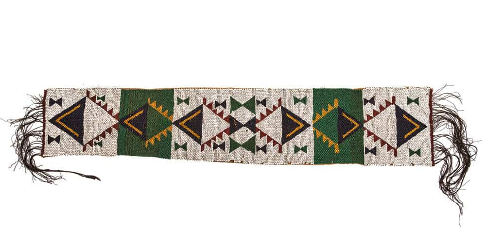 Artist Unrecorded, Zulu.  (Belt). Thread, glass seed beads, string. 13 x 71 cm. Late 19th C. Standard Bank African Art Collection (Wits Art Museum).