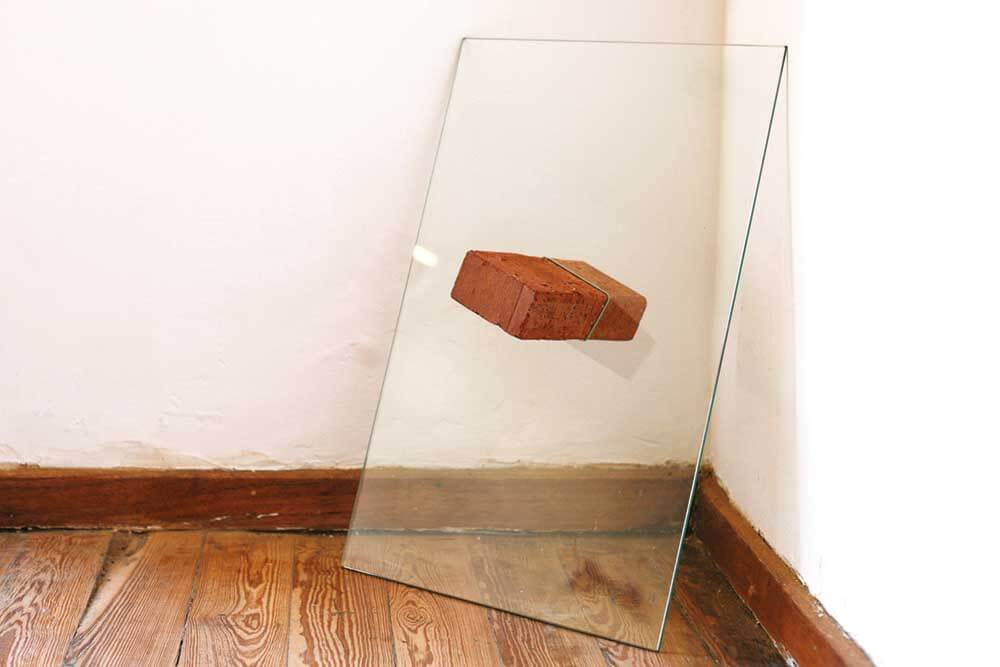 Mitchell Gilbert Messina, Smac...revolution..., 2014. Brick-and-Glass-Pane, 60x40x20cm. Image courtesy of the artist.