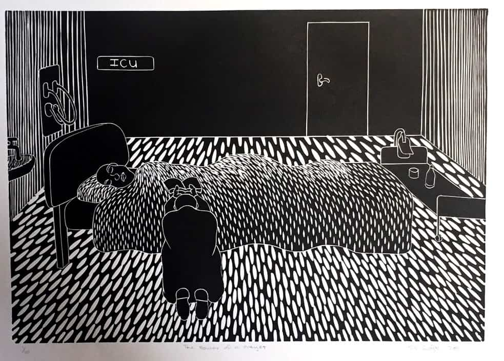Sandile Goje. The power of prayer. Linocut. Edition 1 of 10. 2011