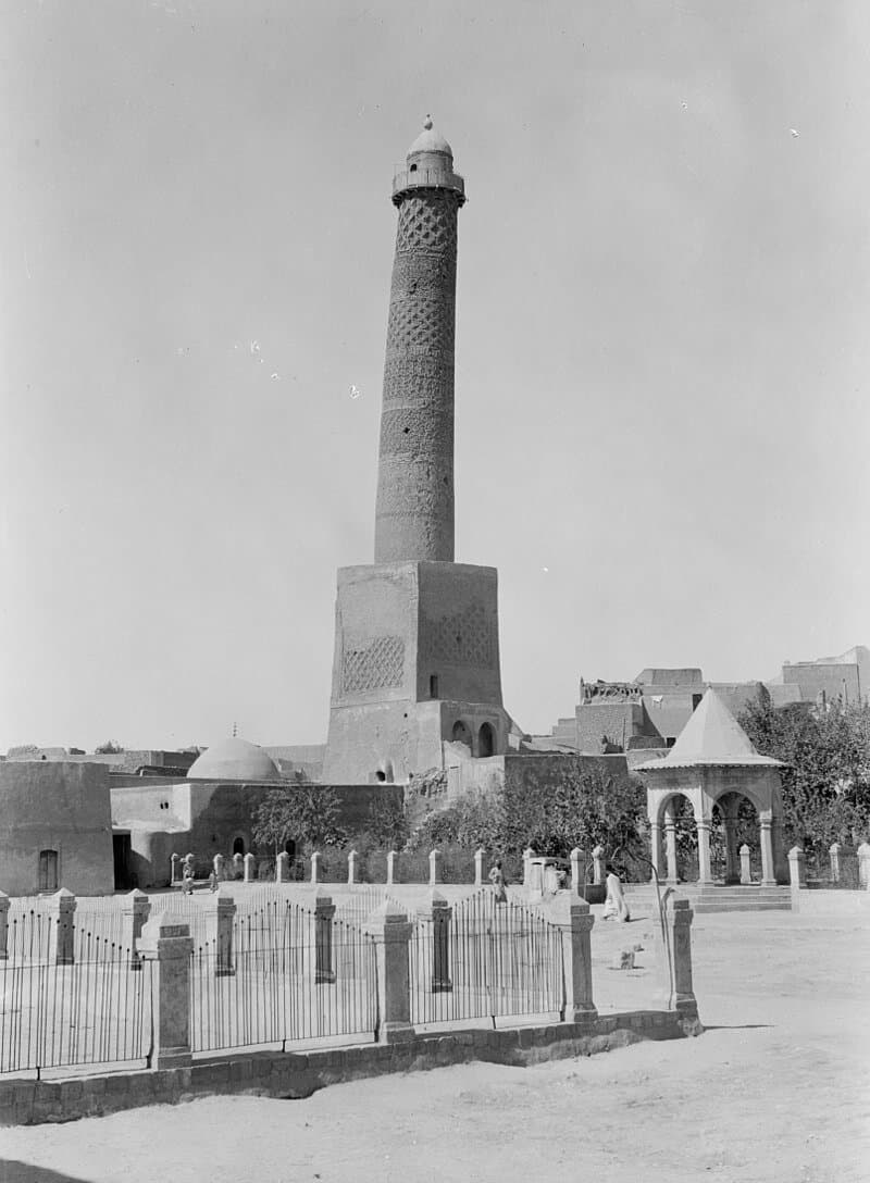 Iraq. Mosul. The leaning tower showing detail of arabesque decoration. 1932. This work is from the Matson (G. Eric and Edith) Photograph collection at the Library of Congress. According to the library, there are no known copyright restrictions on the use of this work. The only restrictions concern color lantern slides, which this photo is not.