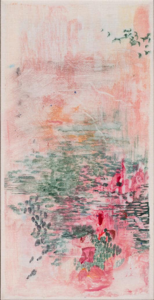 Amber Moir, Along the Riverbed III, 2018. Pitch-rolled watercolour monotype on Calico, 54.5 x 29cm. Framed