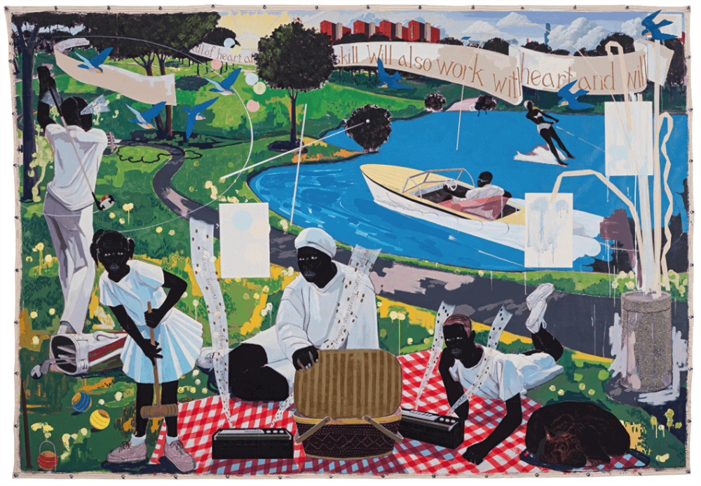 Kerry James Marshall, Past Times, signed and dated '97. Acrylic and collage on canvas, 275 x 398,8 cm. (Link)