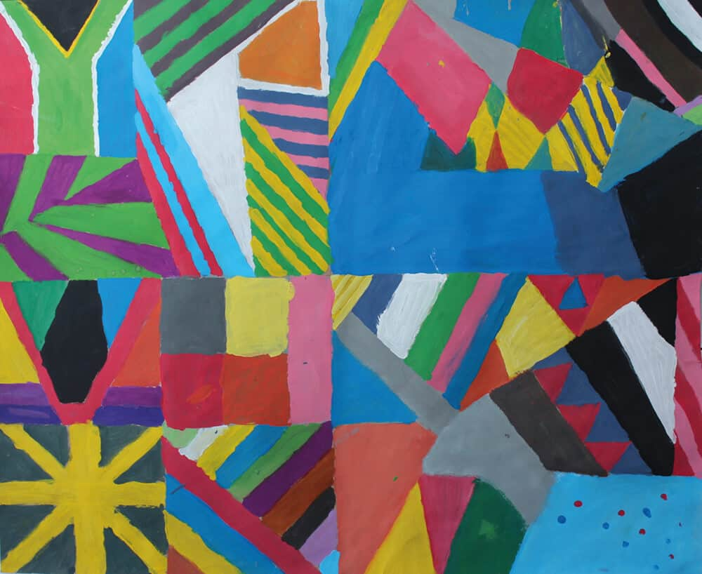 Collaborative artwork made by Rowan, Ryan, Awuza, Junita. All artworks inspired by Odili Donald Odita & made by the children that form part of the Lalela Project curriculum. Courtesy of the Lalela Project.
