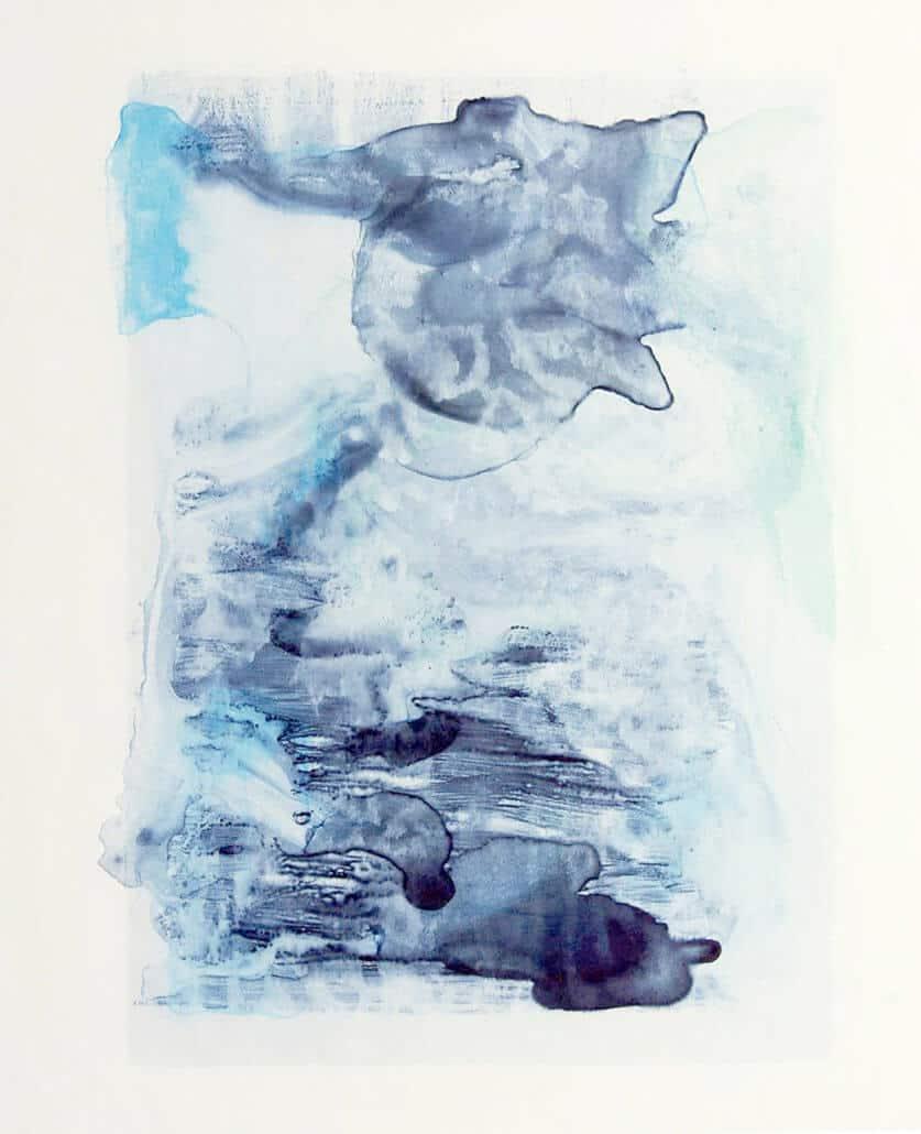 Natasha Norman, Bathe, 2018. Mokuhanga, watercolour monotype on Japanese washi paper, 60 x 50cm. Unframed