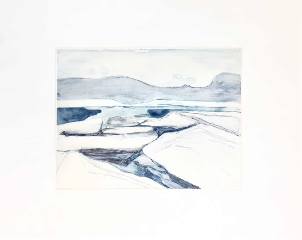 Natasha Norman, Sea of Ice, 2018. Watercolour monotype, 30 x 45cm. Unframed