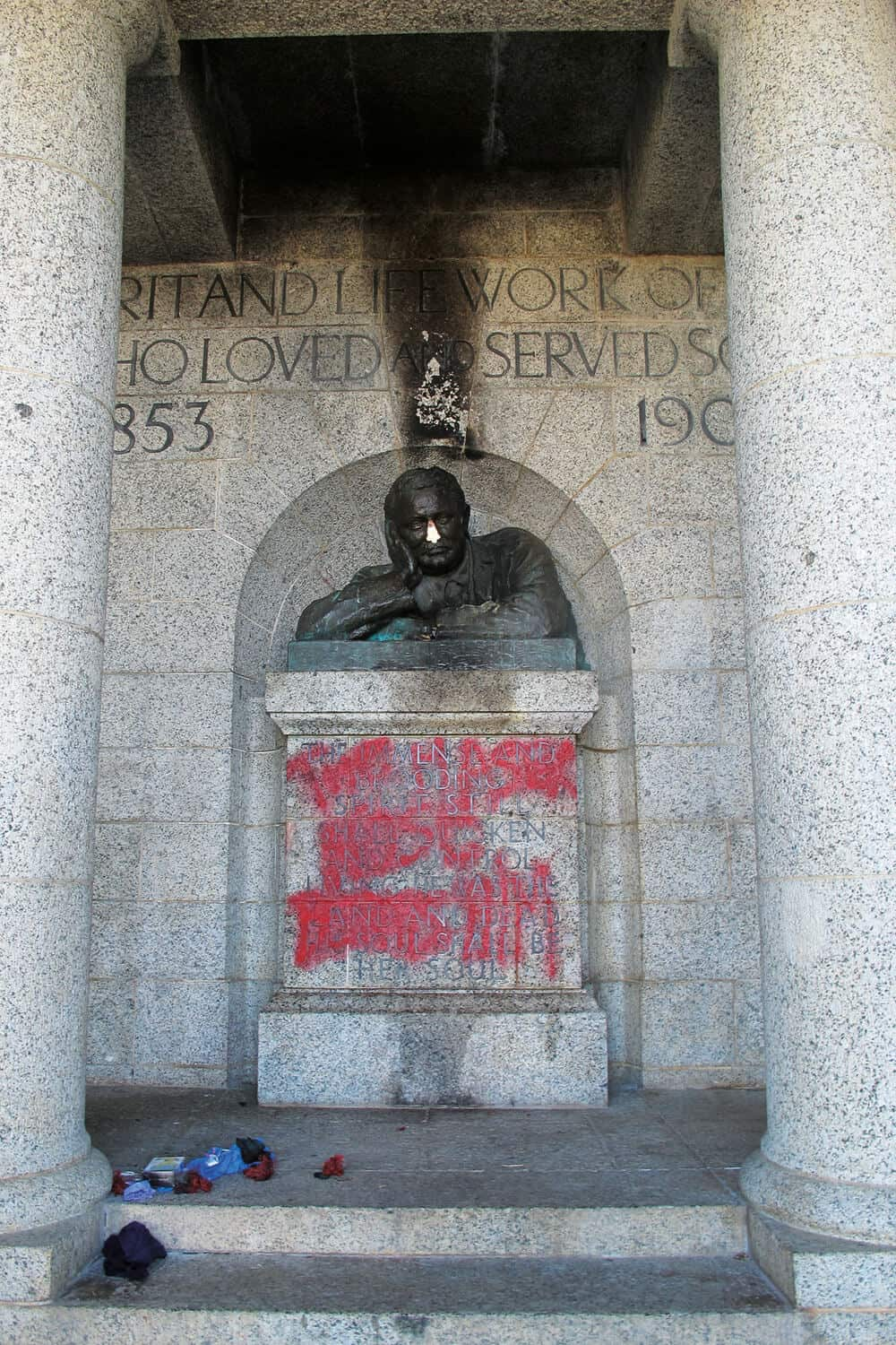 """The Master's Nose Betrays Him"" read graffiti anderneath the defaced Rhodes Memorial statue in Cape Town. Photograph: Kim Gurney"