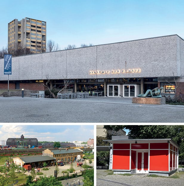 CLOCKWISE FROM TOP: Akademie der Künste (Hanseatenweg). Photographer: Timo Ohler. Volksbühne Pavilion, © Volksbühne Berlin. ZK/U - Center for Art and Urbanistics, 2017, © ZK/U.