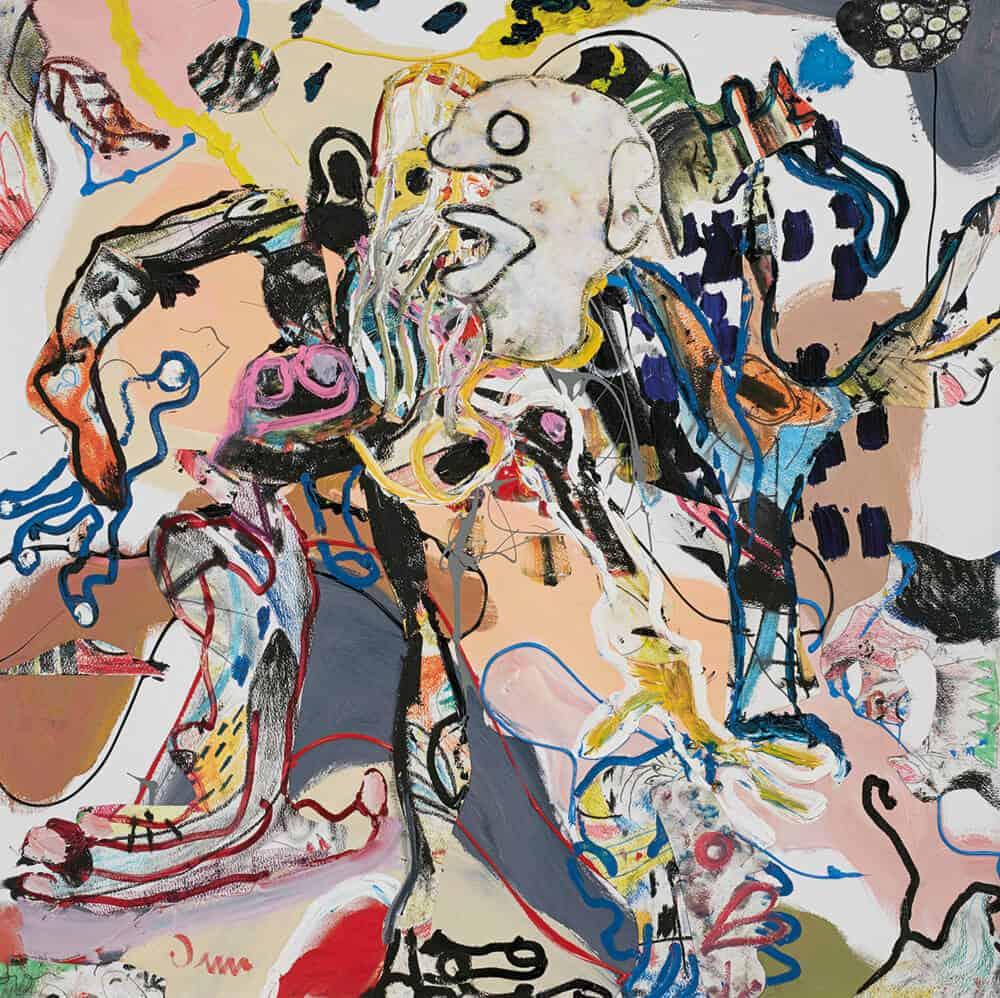 John-Michael Metelerkamp, Nekkies 10 aus der Serie 'The Immortal Nekkies', 2018. Mischtechnik an Bord, 90 x 90 cm. Mit freundlicher Genehmigung der Candice Berman Gallery.