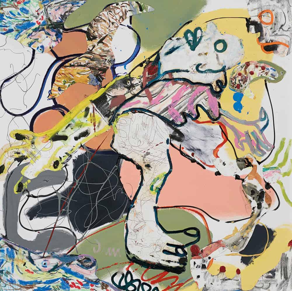 John-Michael Metelerkamp, Nekkies 13 aus der Serie 'The Immortal Nekkies', 2018. Mischtechnik an Bord, 90 x 90 cm. Mit freundlicher Genehmigung der Candice Berman Gallery.
