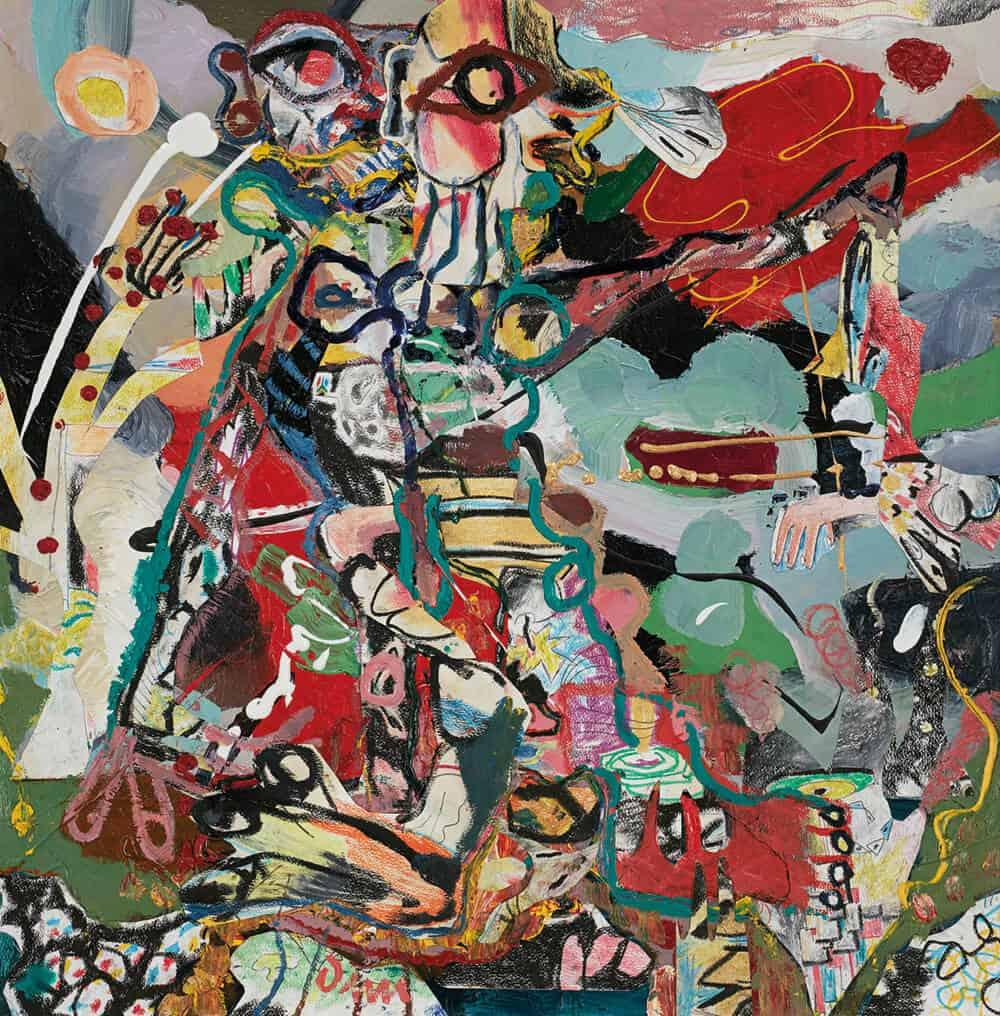 John-Michael Metelerkamp, Nekkies 6 aus der Serie 'The Immortal Nekkies', 2018. Mischtechnik an Bord, 90 x 90 cm. Mit freundlicher Genehmigung der Candice Berman Gallery.