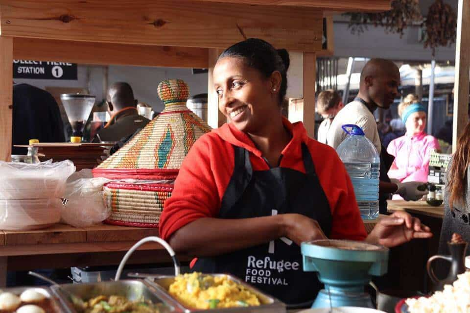 Yodit at Oranjezicht City Farm and Market Day in Cape Town. Courtesy of Refugee Food Festival.https://www.facebook.com/RefugeeFoodFestival/photos/a.1207202625967706.1073741830.1101617059859597/1799220623432567/?type=3&theater