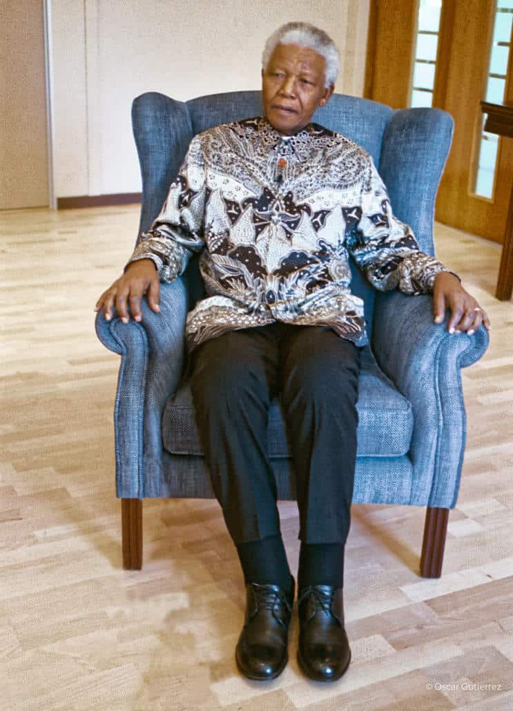 Mandela in his blue chair. 2003 at the Nelson Mandela Foundation
