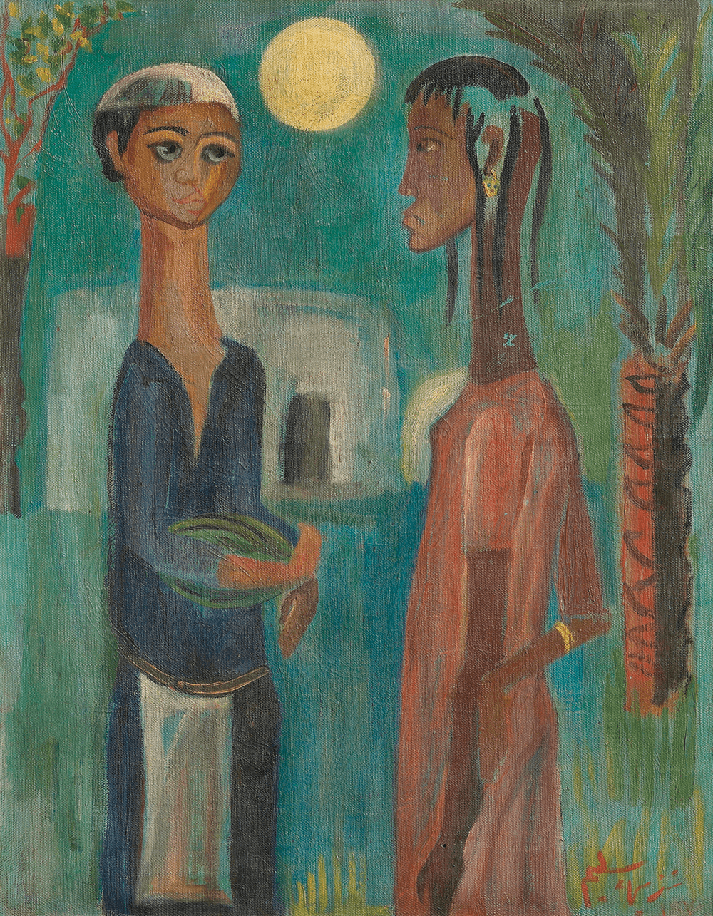 Nazhi Selim, Lovers in the Moonlight, 1947. Olio su tela, 42 x 54cm. Per gentile concessione di Alia e Hussain Harba Collection, Iraq, Italia. Fotografo: Edoardo Garis.