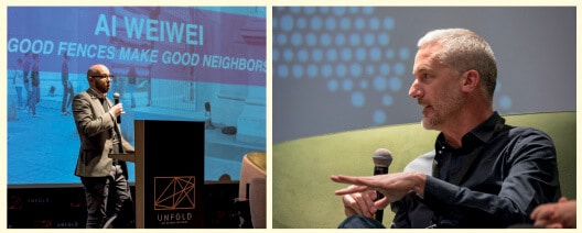 LEFT: Sam Rauch, Director of Special projects at Public Art Fund, New York, presenting Ai Weiwei's 'Good Fences Make Good Neighbours' exhibition at 'UNFOLD Art XChange', 2018. RIGHT: Daniel Tobin of Urban Art Projects (UAP), Brisbane, Australia, presenting at 'UNFOLD Art XChange', 2018, about their work on 'Good Fences Make Good Neighbours'.