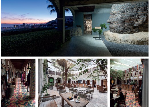 CLOCKWISE FROM TOP: Entrance to the Ellerman House Gallery with views over the Atlantic Ocean. Packed stone sculpture by Angus Taylor, Cape Town, South Africa. Courtesy of Ellerman House. XVA Gallery, Al Fahidi Historical Neighbourhood, the Creek, Dubai. Middle image courtesy of XVA Gallery, left & right image courtesy of Brendon Bell-Roberts.
