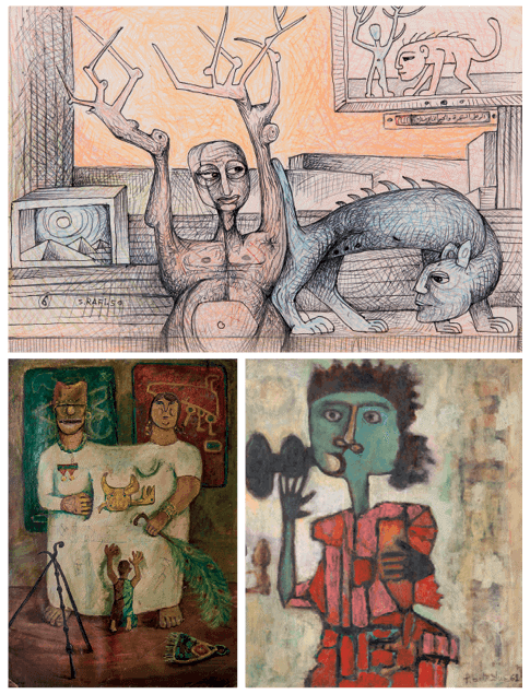 CLOCKWISE FROM TOP: Samir Rafi, The Tree, the Man, and the Human Animal, 1950. Ink and coloured graphite on paper, 25.5 x 38cm. Courtesy Ahmed Eldabaa collection. Photography: Ayman Lofty. Abdelhadi El Gazzar, The Family, circa 1953. Oil on canvas, 60 x 46cm. Courtesy Yasser Hashem collection, Cairo. Farid Belkahia, Personnage, 1962. Oil on panel, 76 x 65cm. Courtesy Private Collection.