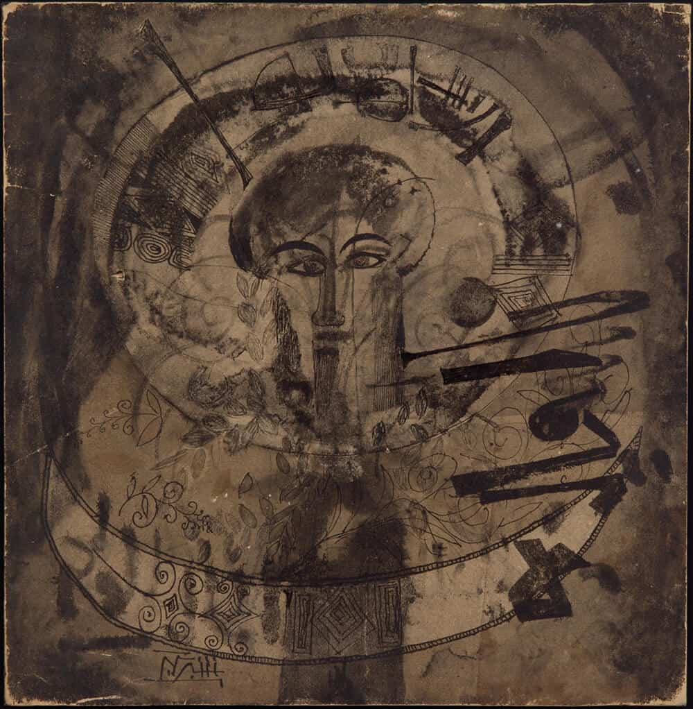 Ahmad Shibrain, Untitled, circa 1965. Ink on carton, 37 x 37cm. Courtesy Saleh Barakat collection.