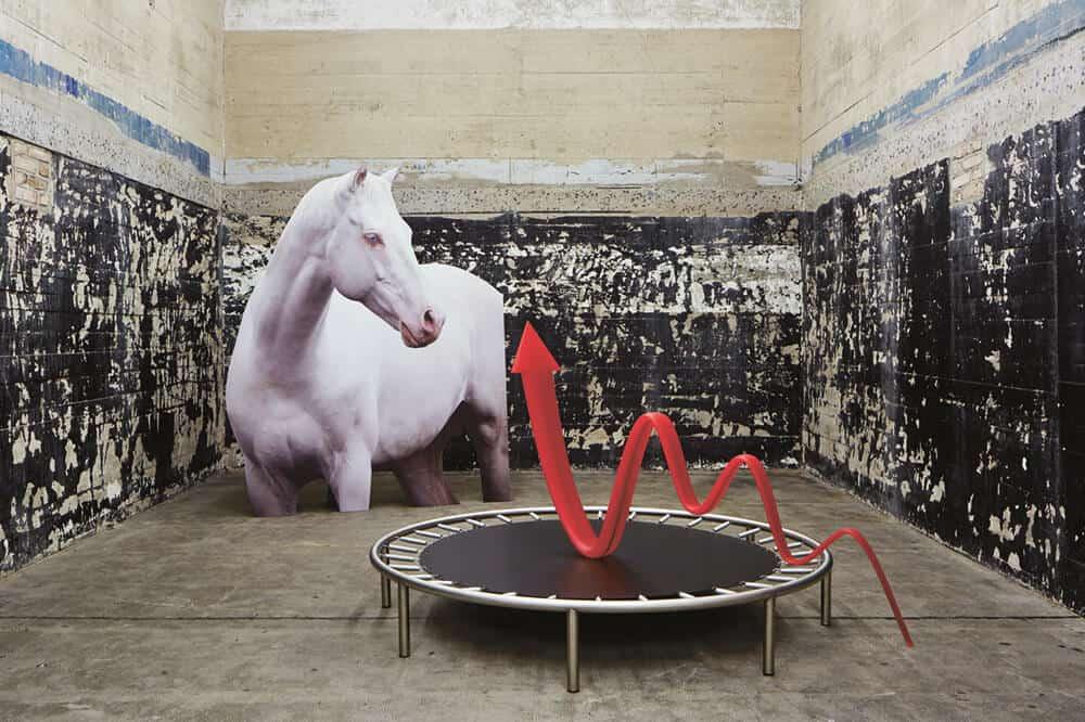 Katja Novitskova, Storm Time Approximation (Hominids, IR Thermal Vision), 2016. Digital print on aluminium, Cutout display approx. 160 x 550 x 80cm. Courtesy of the artist, Kraupa Tuskany Zeidler galley, Greene Naftali gallery.