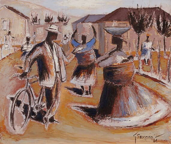 Gerard Sekoto, Bustling street scene, 1961. Oil on canvas.