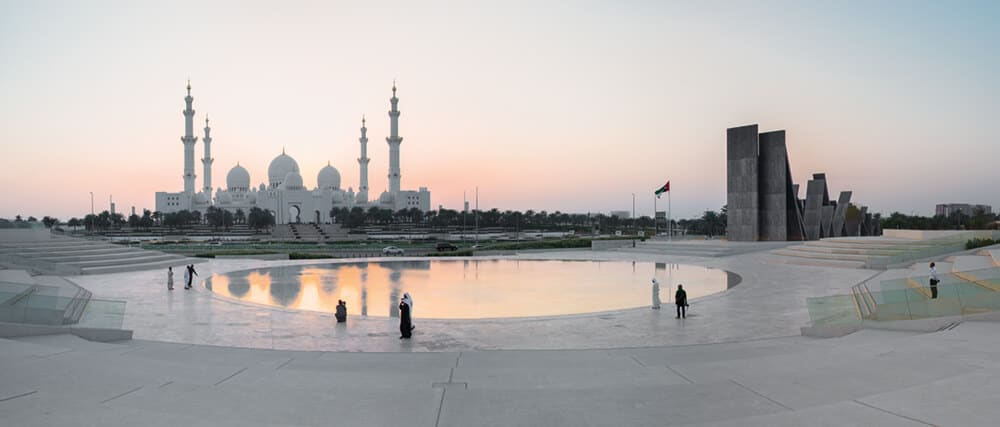 Wahat al Karama, Abu Dhabi with the Sheikh Zayed Grand Mosque in the background. Courtesy Surface Photography and UAP.Wahat al Karama, Abu Dhabi with the Sheikh Zayed Grand Mosque in the background. Courtesy Surface Photography and UAP.