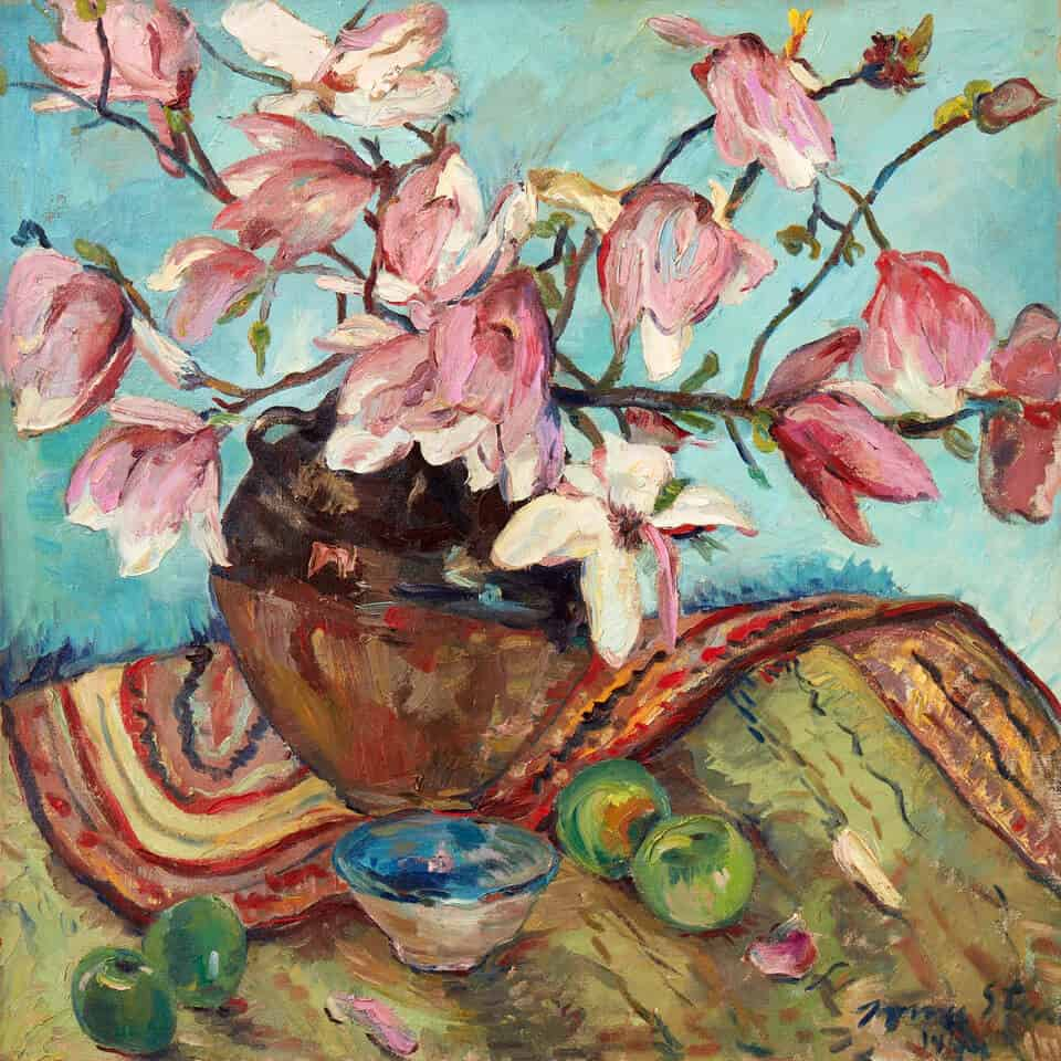 Irma Stern, Still life with magnolias, apples and bowl, 1949. Oil on canvas.