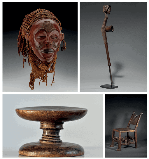 CLOCKWISE FROM TOP LEFT: Chokwe Mask Mwana pwo, Lunda region. Wood, vegetal fibers, metal, Height: 22 cm. © Studio Philippe de Formanoir - Paso Doble. Chokwe Pipe peshi. Wood, iron. Height: 62cm; length: 10cm. Chokwe Chair, citwamo ca mangu. Sanjime Chiefdom, Dundo region. Wood, leather. Height: 55cm; length: 33.5cm. Shinji Stool Citwamo, Shakasambi Chiefdom, Camaxilo region wood. Height: 11cm; diameter: 18cm All images courtesy of the Sindika Dokolo Foundation.