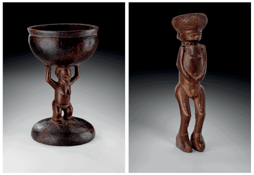 LEFT TO RIGHT: Shinji Cup panda. Chiefdom Mwakavula, Camaxilo region. Wood, Height: 21cm; length 13.2cm. © Studio Philippe de Formanoir - Paso Doble. Chokwe / Lwena male statue. Lunda Region - Chitato, Nashili Village. Wood, glass paste, horsehair. Height: 22cm. Courtesy of the Sindika Dokolo Foundation.