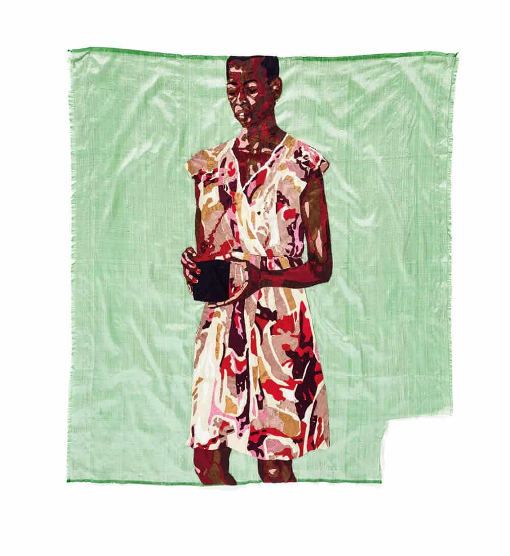 Billie Zangewa, Great Expectations, 2017. Tappezzeria in seta, 1020 x 945 cm. Per gentile concessione dell'artista e progetti in bianco