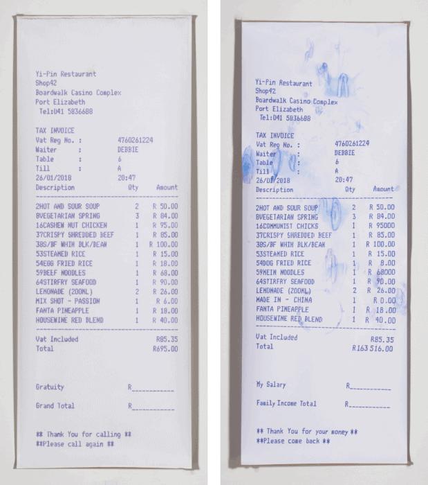 Gewinner des Verdienstpreises: Debbie Fan (Port Elizabeth), Scheck oder Ersparnis? Acryl- und Digitaldruck auf Papier. Diptychon: (2) 240 x 90 cm.