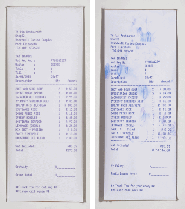 Merit Award Winner: Debbie Fan (Port Elizabeth), Cheque or Savings? Acrylic and digital print on paper. Diptych: (2) 240 x 90cm.