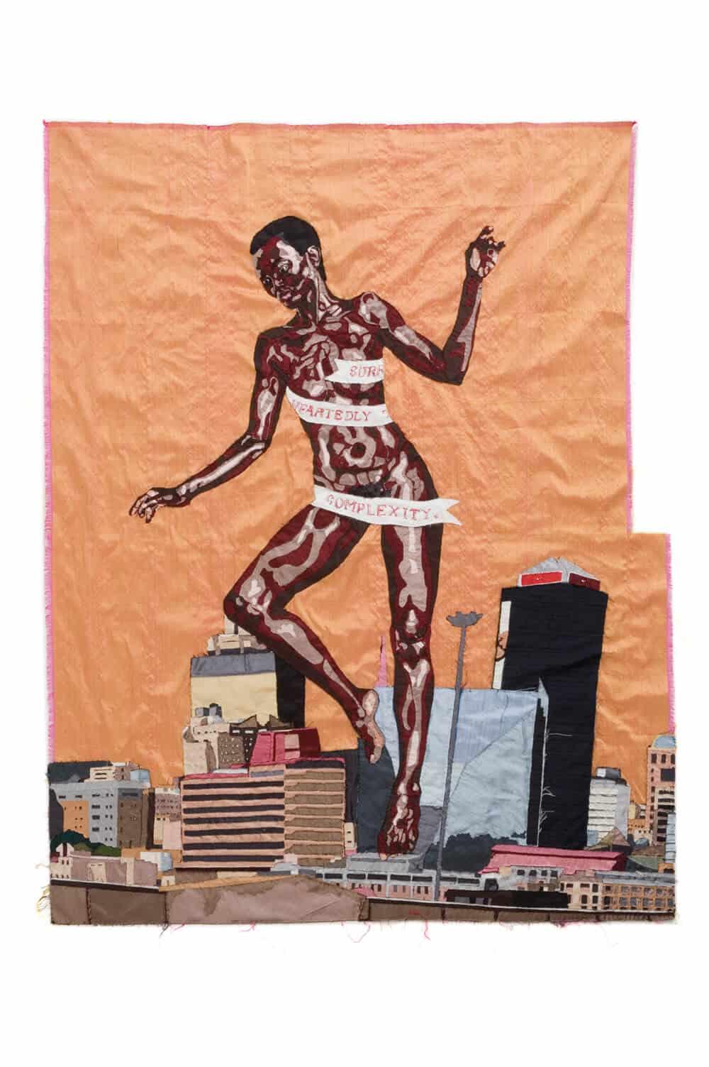 Billie Zangewa, La rinascita di Venere nera, 2010. Tappezzeria in seta, 127x103cm. Per gentile concessione dell'artista e progetti in bianco.