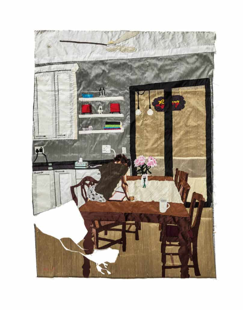 Billie Zangewa, Vision of love, 2018. Tappezzeria in seta, 98 x 135 cm. Per gentile concessione dell'artista e progetti in bianco.
