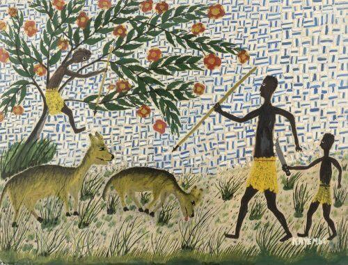 Kayembe, Père et fils à la chasse. Estimate : 6000 / 9000 €