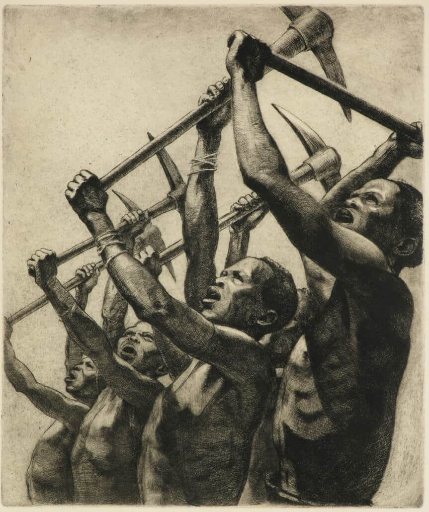 Dorothy Kay, The Song of the pick, 1938. Etching on paper.
