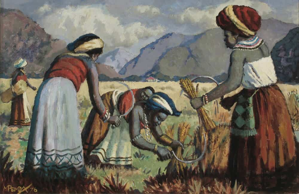 George Mnyalusa Pemba, Harvesters, 1976. Oil on canvas.