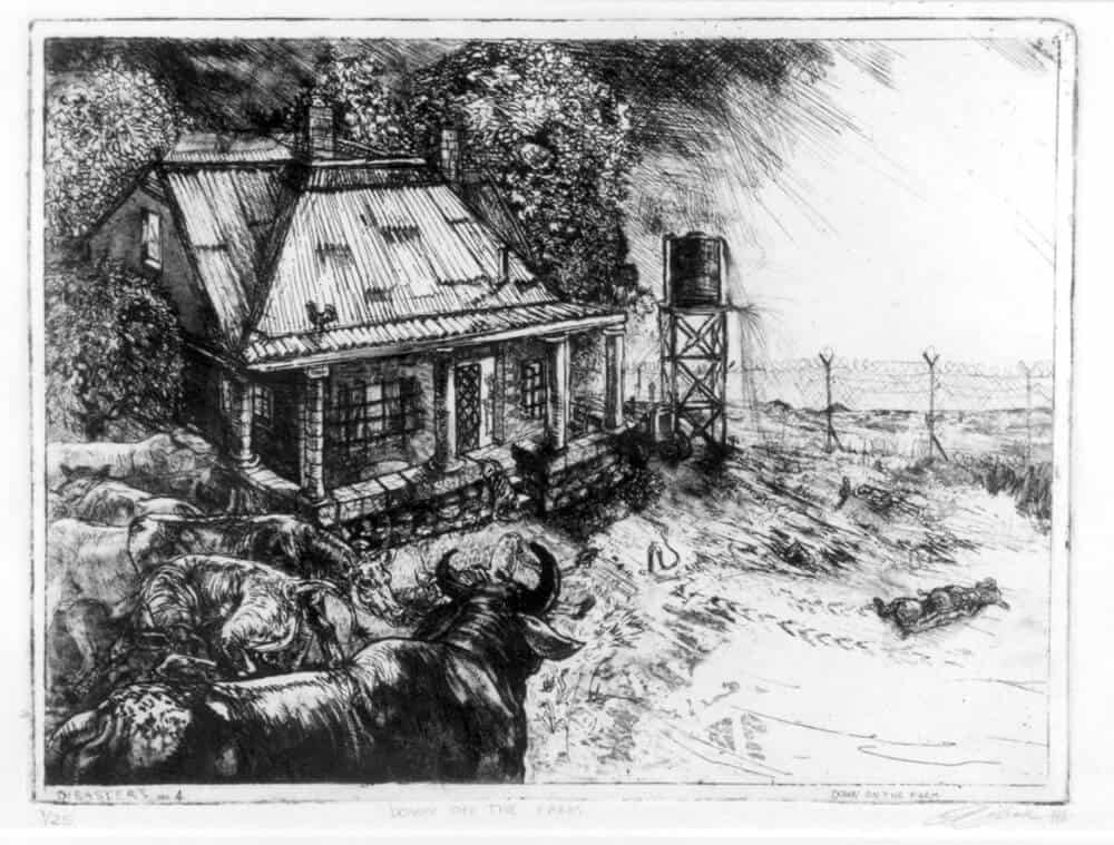 Diane Veronicque Victor (1964 -), Down on the Farm (Disasters of Peace no. 4), 2000, etching on paper.