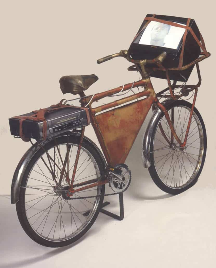 James Gavin Forrest Younge, Forces Favourites 2, 2000. Post Office bicycle, vellum, vcr and monitor.