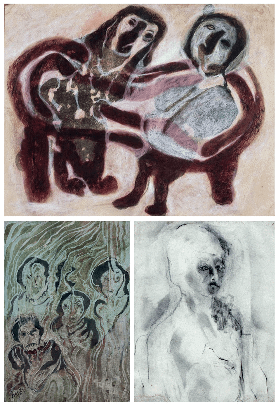 CLOCKWISE FROM TOP: Kamala Ishaq Ibrahim, Untitled VI, 1969. Mixed media on paper, 25 x 31.5cm. Untitled II, undated. Charcoal on paper, 22 x 27.5cm. Untitled VIII, 1970. Water colour on paper, 25 x 17.5cm. All images courtesy of Circle Art Gallery.