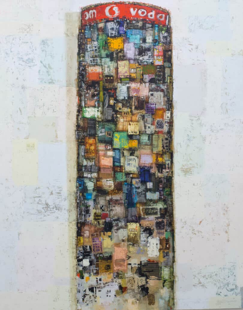 Addis Gezehagn, Joburg Floating Tower I, 2017. Acrilico e carta su tela, 162 x 130 cm.