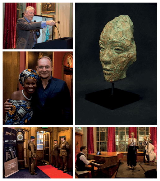 CLOCKWISE FROM BOTTOM LEFT: Painters' Hall entrance where guests were welcomed by members of the 3MI (Military Intelligence). Founding Chairman, Francois Pienaar and MAD Leadership Foundation 2017 Benefit Auction scholar attendee, Nqobile. Nick Bonham, UK Benefit Auction 2017 Auctioneer. Lionel Smit, Origins Broken Fragment, available at 2018 event. Milly and the Mavericks performed at the inaugeral event, 2017.