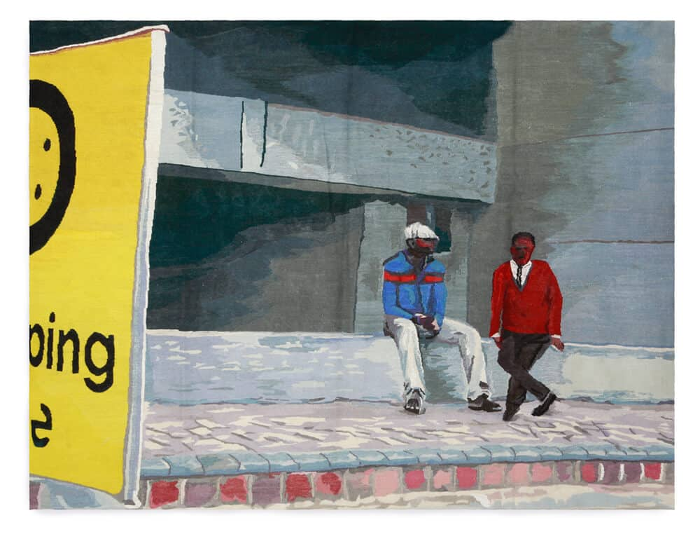 Sam Nthlengethwa, Gautrain Station, 2014. Mohair & cotton polyester, 1,5 x 2m.