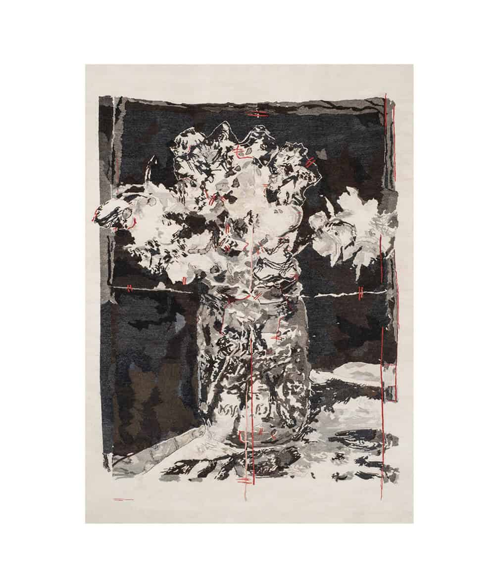 William Kentridge, Flowers for Suzanne, 2017. One of three related designs known as the 'Manet' series. Mohair & cotton polyester, 2,16 x 1,58m. Photographer: David Ballam. Courtesy of Stephens Tapestries.