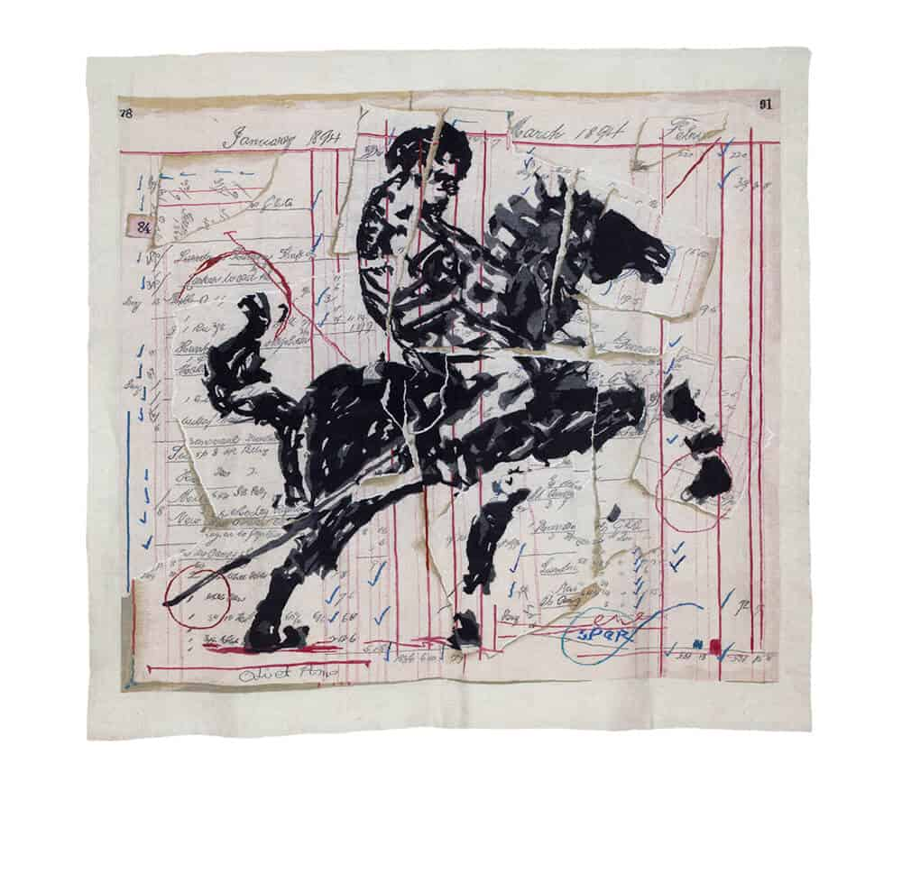 William Kentridge, Roman Centurion, first woven in 2013. Mohair & cotton polyester 1,8 x 1,8m. Photographer: David Ballam. Courtesy of Stephens Tapestries.