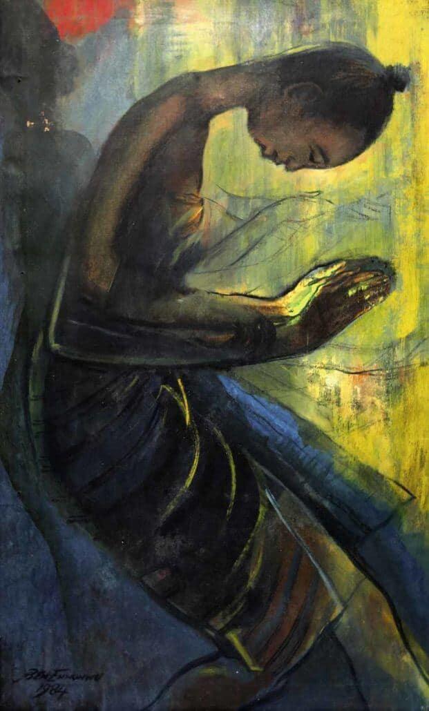 Ben Enwonwu (Nigerian, 1921-1994), Obitun Dancer, 1984. Oil on canvas, 1984. Estimate: £150,000-200,000 © Ben Enwonwu
