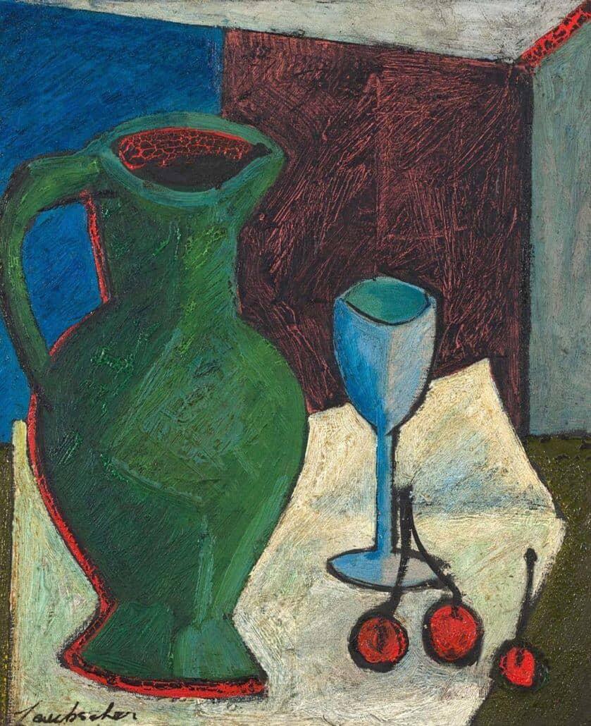 Erik Laubscher | Still Life with Jug, Wineglass and Cherries | R600 000 - 800 000