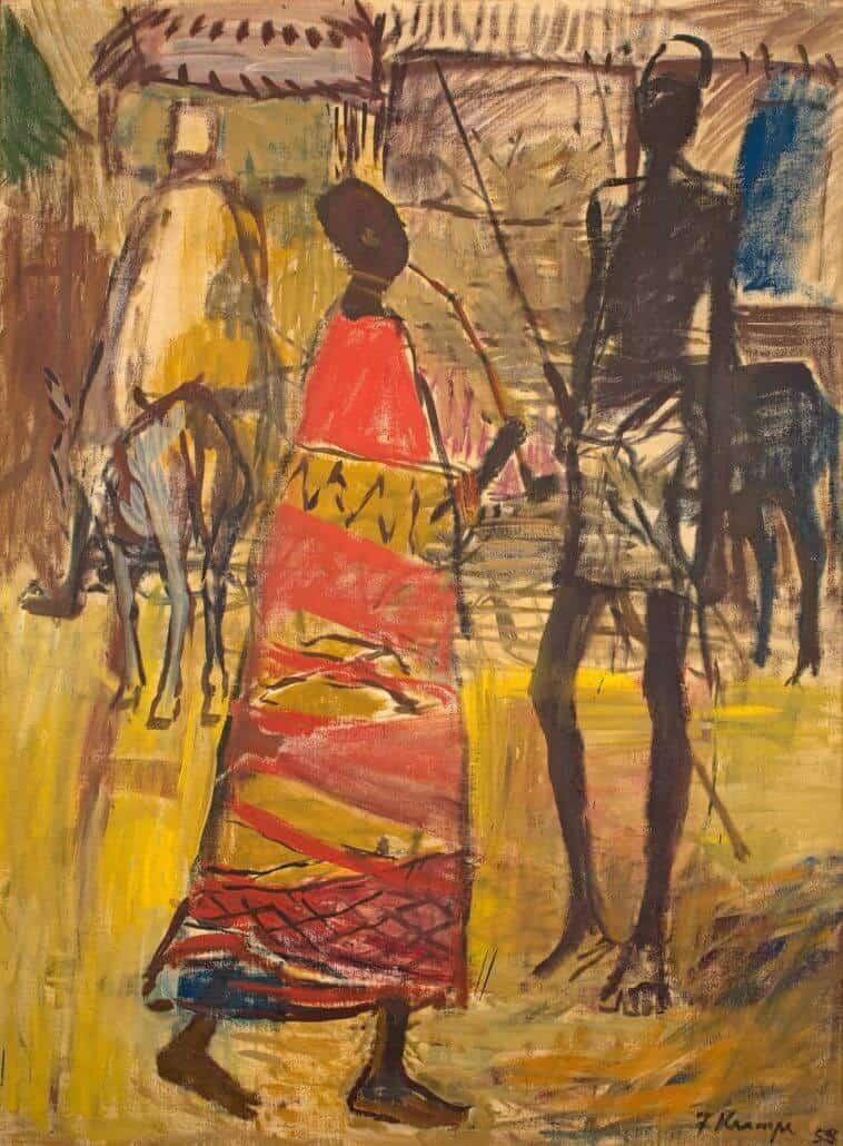 Fritz Krampe, Escena de aldea con mujer en pipa, anverso; Barco de pesca, verso. VENDIDO R682 800. RÉCORD MUNDIAL DEL ARTISTA