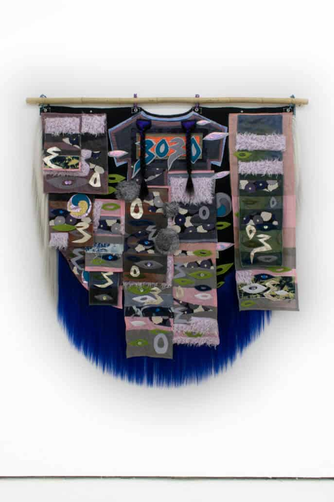 Zadie Xa, 91 Chyzanthemumz 4 Imsook, 2018. Handsewn and machine stitched assorted fabrics, mother of pearl buttons, faux fur and synthetic hair, bamboo. 165 cm x 169 cm. Courtesy of the artist and Union Pacific Gallery.